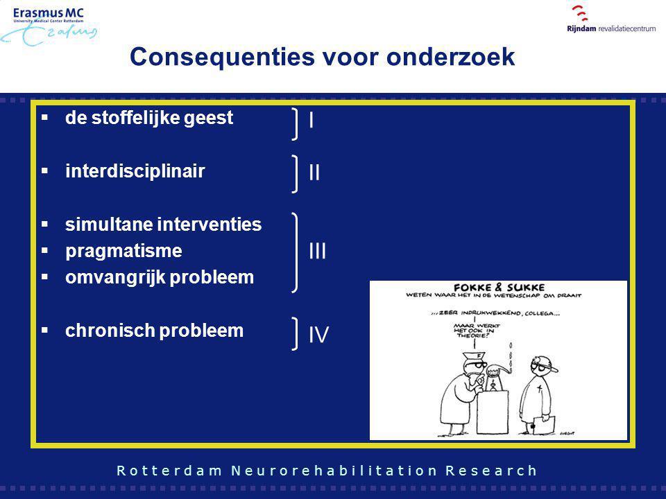 Consequenties voor onderzoek  de stoffelijke geest  interdisciplinair  simultane interventies  pragmatisme  omvangrijk probleem  chronisch probl
