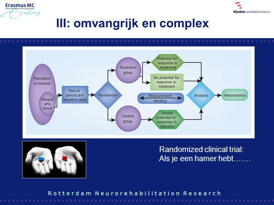 III: omvangrijk en complex Randomized clinical trial: Als je een hamer hebt……. R o t t e r d a m N e u r o r e h a b i l i t a t i o n R e s e a r c h