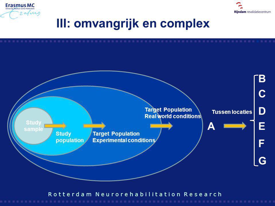 III: omvangrijk en complex Study sample AE Study population Target Population Experimental conditions Target Population Real world conditions Tussen l