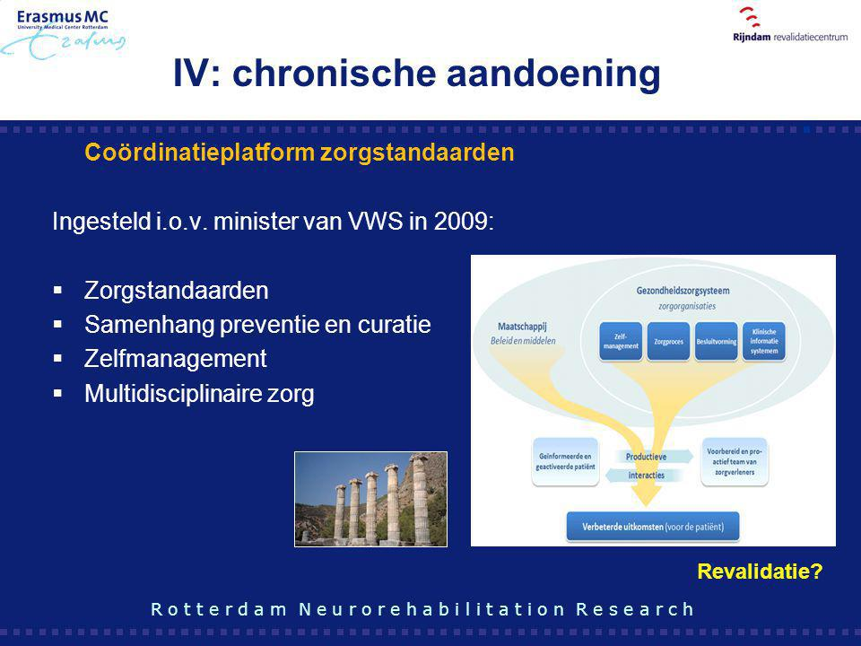 IV: chronische aandoening R o t t e r d a m N e u r o r e h a b i l i t a t i o n R e s e a r c h Coördinatieplatform zorgstandaarden Ingesteld i.o.v.