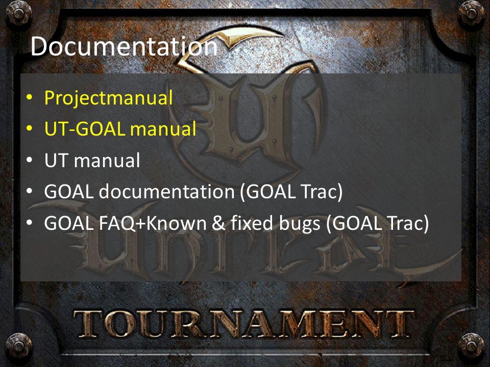 Documentation Projectmanual UT-GOAL manual UT manual GOAL documentation (GOAL Trac) GOAL FAQ+Known & fixed bugs (GOAL Trac)