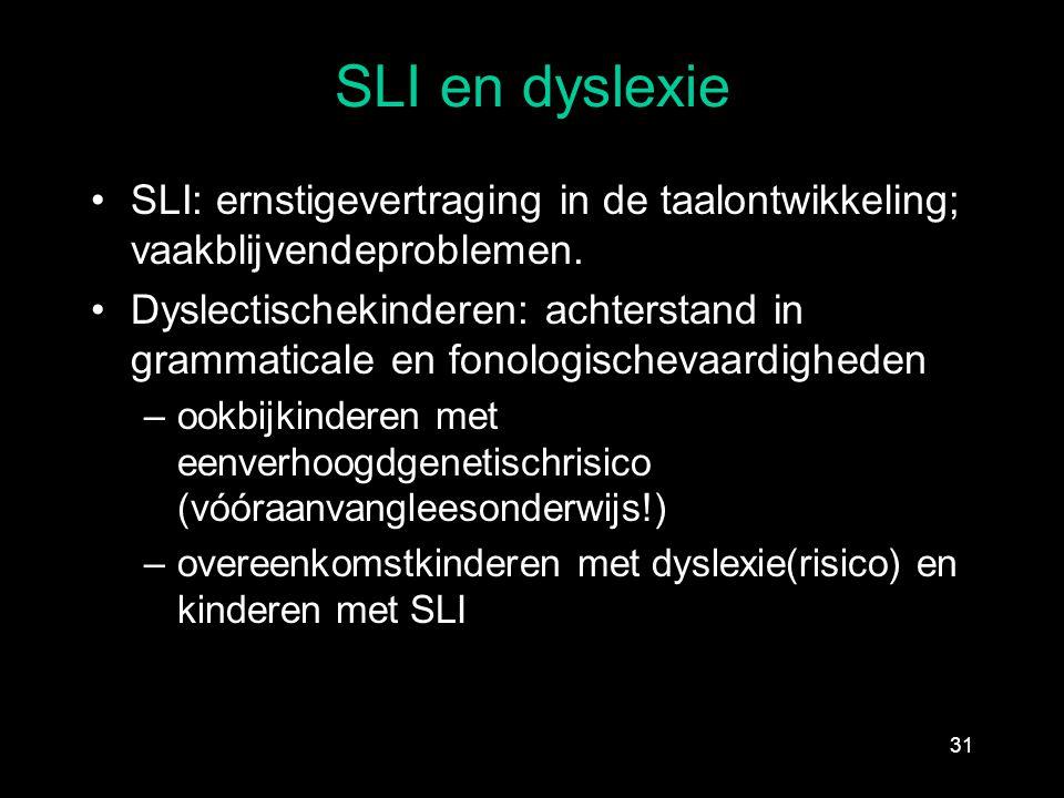 SLI en dyslexie SLI: ernstigevertraging in de taalontwikkeling; vaakblijvendeproblemen. Dyslectischekinderen: achterstand in grammaticale en fonologis