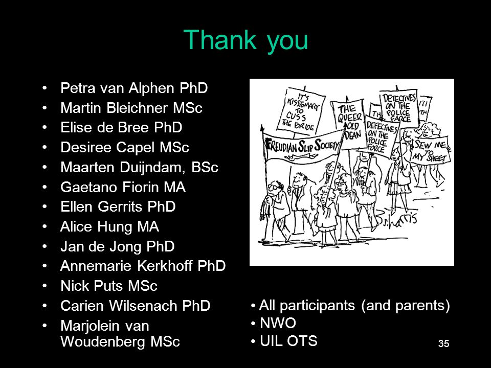 Thank you Petra van Alphen PhD Martin Bleichner MSc Elise de Bree PhD Desiree Capel MSc Maarten Duijndam, BSc Gaetano Fiorin MA Ellen Gerrits PhD Alice Hung MA Jan de Jong PhD Annemarie Kerkhoff PhD Nick Puts MSc Carien Wilsenach PhD Marjolein van Woudenberg MSc All participants (and parents) NWO UIL OTS 35