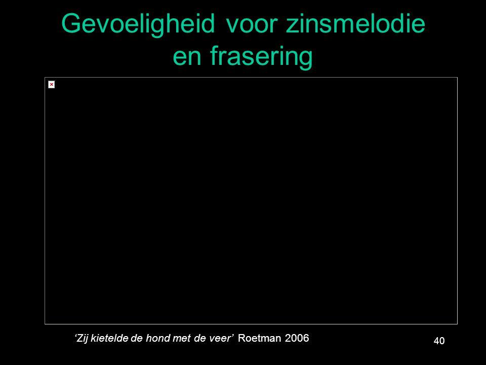 Gevoeligheid voor zinsmelodie en frasering 40 'Zij kietelde de hond met de veer' Roetman 2006
