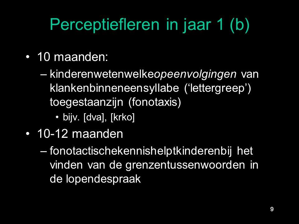 Perceptiefleren in jaar 1 (b) 10 maanden: –kinderenwetenwelkeopeenvolgingen van klankenbinneneensyllabe ('lettergreep') toegestaanzijn (fonotaxis) bij