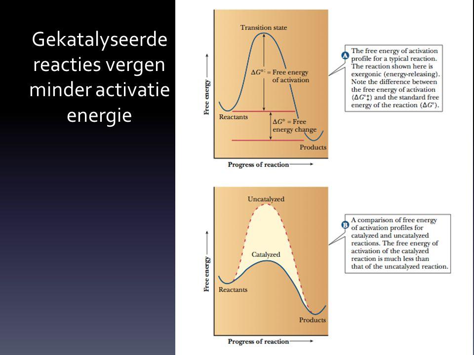Gekatalyseerde reacties vergen minder activatie energie