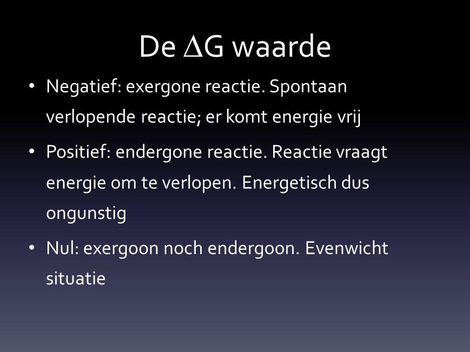 De  G waarde Negatief: exergone reactie. Spontaan verlopende reactie; er komt energie vrij Positief: endergone reactie. Reactie vraagt energie om te
