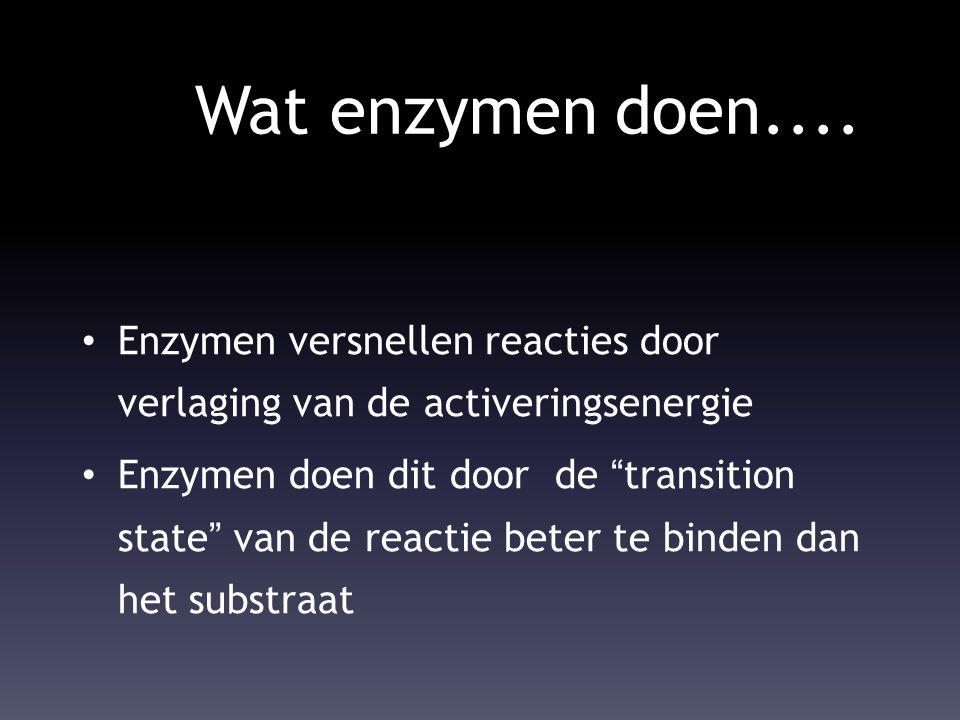 """Wat enzymen doen.... Enzymen versnellen reacties door verlaging van de activeringsenergie Enzymen doen dit door de """"transition state"""" van de reactie b"""