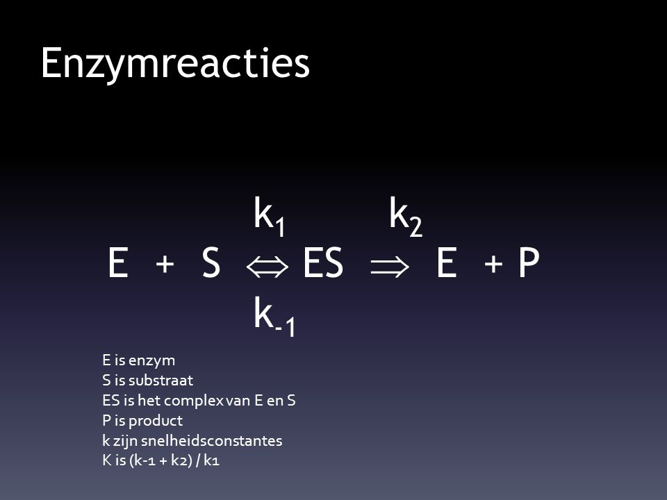 Enzymreacties k 1 k 2 E + S  ES  E + P k -1 E is enzym S is substraat ES is het complex van E en S P is product k zijn snelheidsconstantes K is (k-1