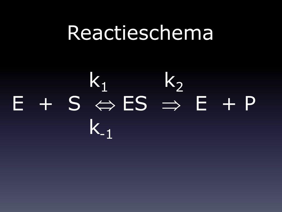 Reactieschema k 1 k 2 E + S  ES  E + P k -1
