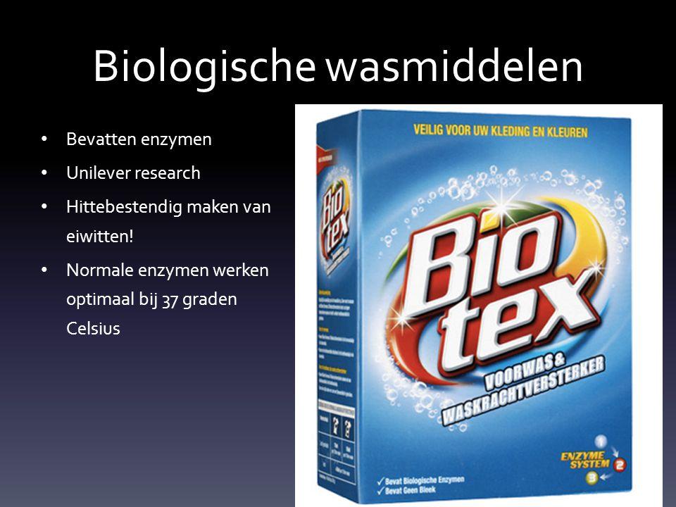 Biologische wasmiddelen Bevatten enzymen Unilever research Hittebestendig maken van eiwitten! Normale enzymen werken optimaal bij 37 graden Celsius