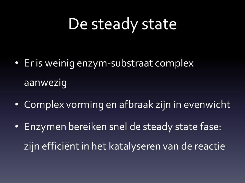 De steady state Er is weinig enzym-substraat complex aanwezig Complex vorming en afbraak zijn in evenwicht Enzymen bereiken snel de steady state fase: