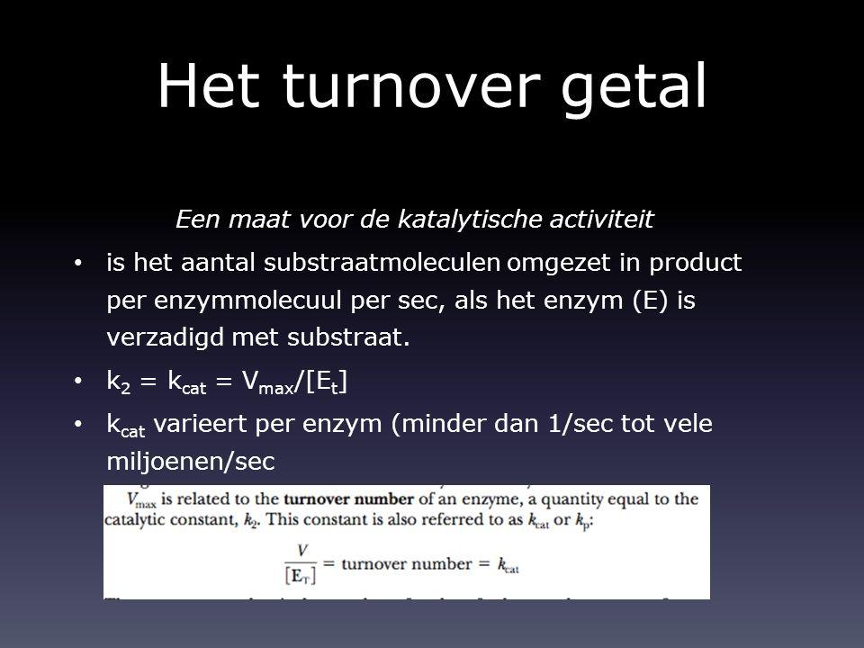 Het turnover getal Een maat voor de katalytische activiteit is het aantal substraatmoleculen omgezet in product per enzymmolecuul per sec, als het enz