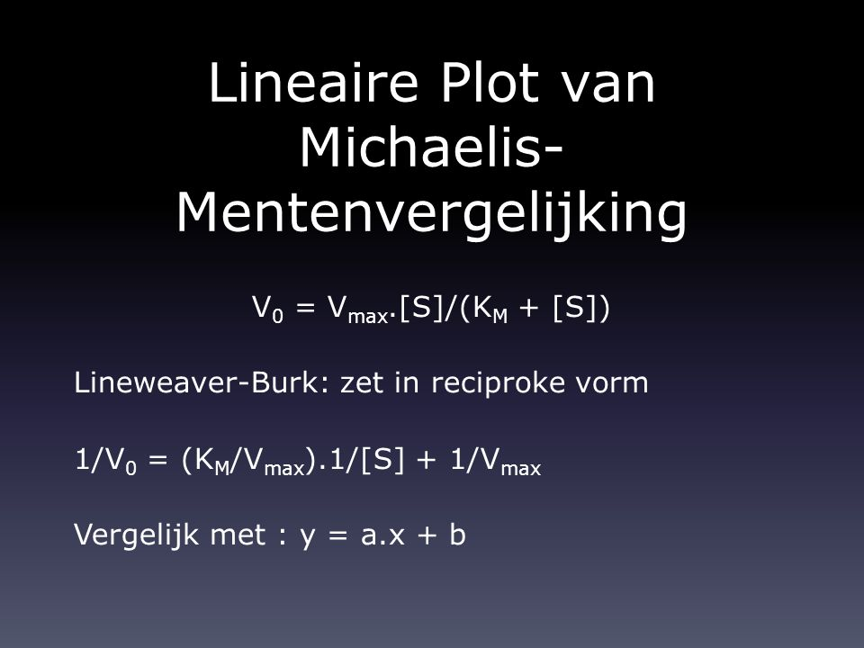 Lineaire Plot van Michaelis- Mentenvergelijking V 0 = V max.[S]/(K M + [S]) Lineweaver-Burk: zet in reciproke vorm 1/V 0 = (K M /V max ).1/[S] + 1/V m