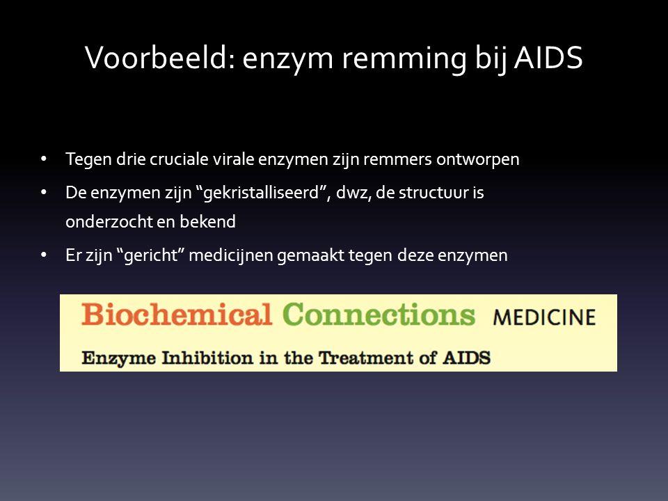 """Voorbeeld: enzym remming bij AIDS Tegen drie cruciale virale enzymen zijn remmers ontworpen De enzymen zijn """"gekristalliseerd"""", dwz, de structuur is o"""