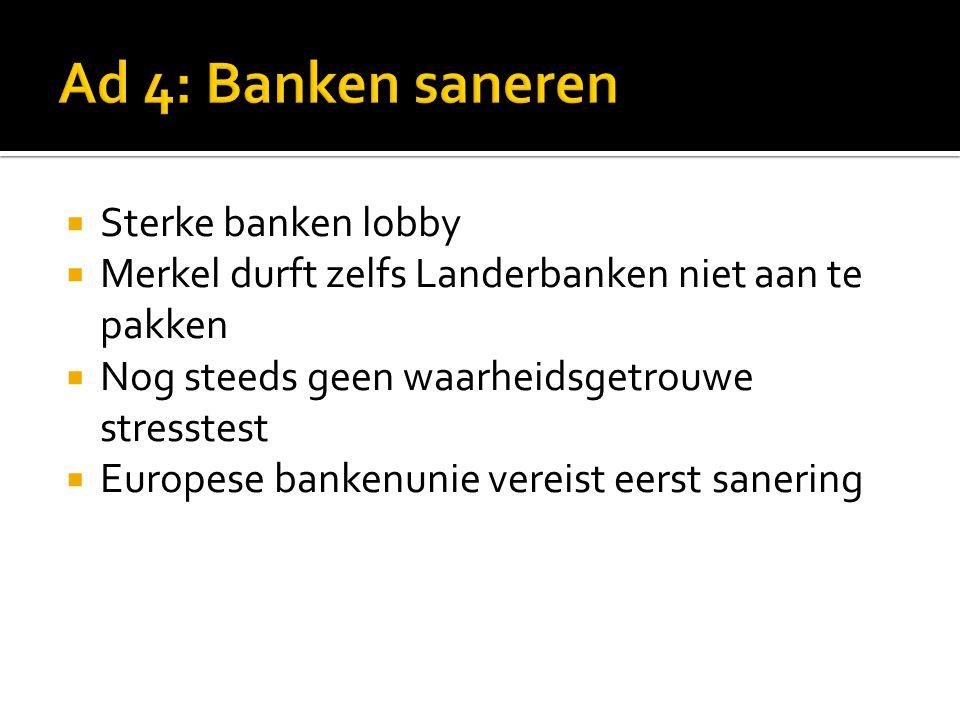  Sterke banken lobby  Merkel durft zelfs Landerbanken niet aan te pakken  Nog steeds geen waarheidsgetrouwe stresstest  Europese bankenunie vereist eerst sanering