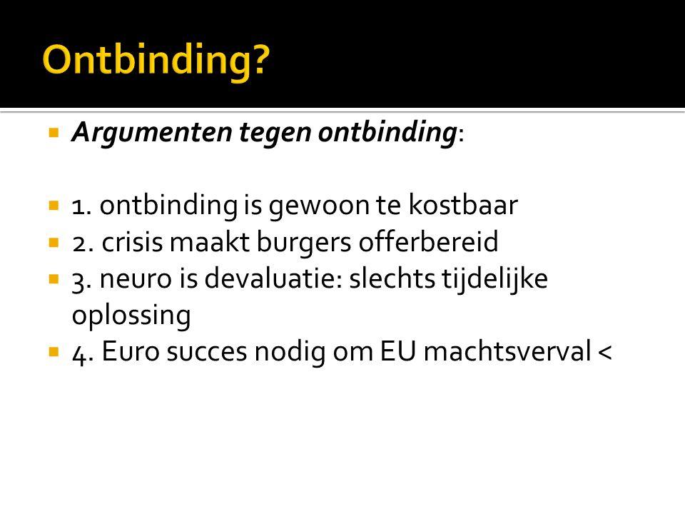  Argumenten tegen ontbinding:  1. ontbinding is gewoon te kostbaar  2. crisis maakt burgers offerbereid  3. neuro is devaluatie: slechts tijdelijk