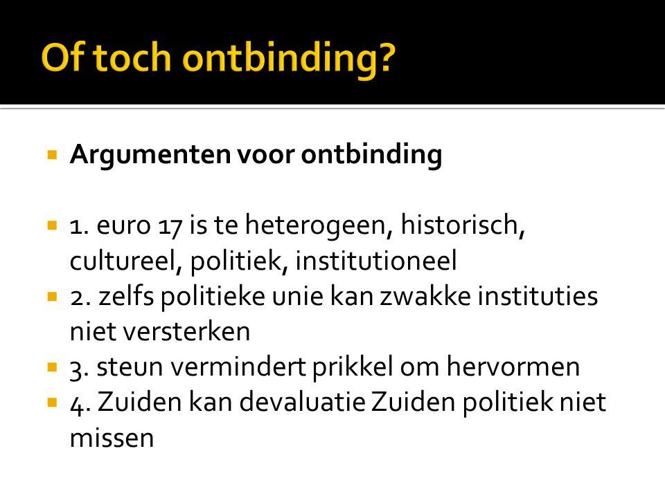  Argumenten voor ontbinding  1. euro 17 is te heterogeen, historisch, cultureel, politiek, institutioneel  2. zelfs politieke unie kan zwakke insti