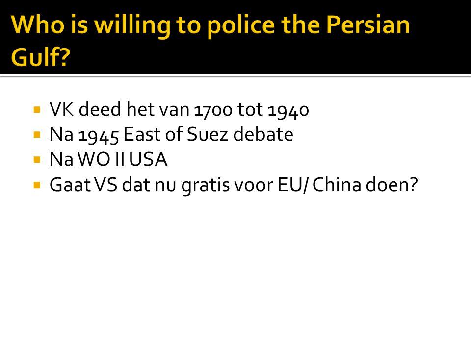  VK deed het van 1700 tot 1940  Na 1945 East of Suez debate  Na WO II USA  Gaat VS dat nu gratis voor EU/ China doen?