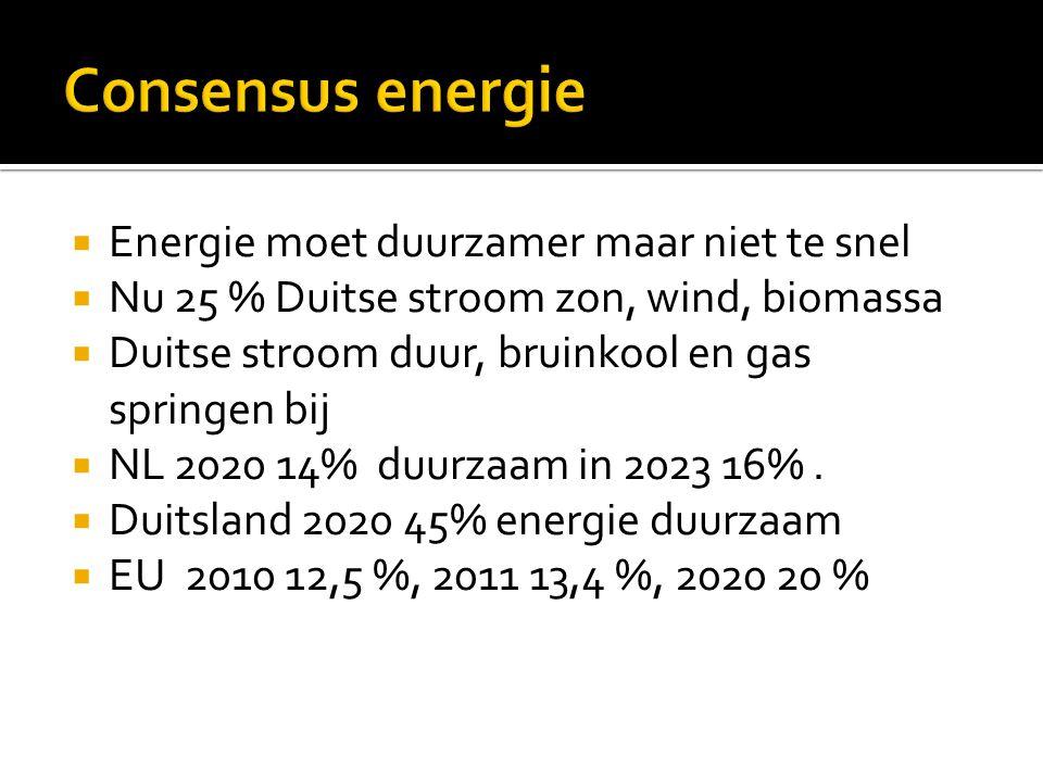  Energie moet duurzamer maar niet te snel  Nu 25 % Duitse stroom zon, wind, biomassa  Duitse stroom duur, bruinkool en gas springen bij  NL 2020 14% duurzaam in 2023 16%.