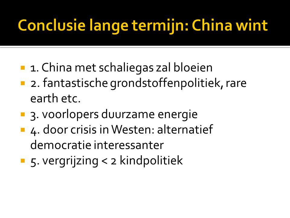  1. China met schaliegas zal bloeien  2. fantastische grondstoffenpolitiek, rare earth etc.  3. voorlopers duurzame energie  4. door crisis in Wes