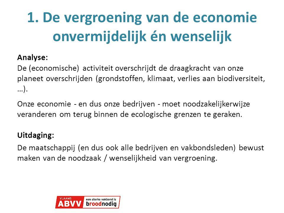 1. De vergroening van de economie onvermijdelijk én wenselijk Analyse: De (economische) activiteit overschrijdt de draagkracht van onze planeet oversc