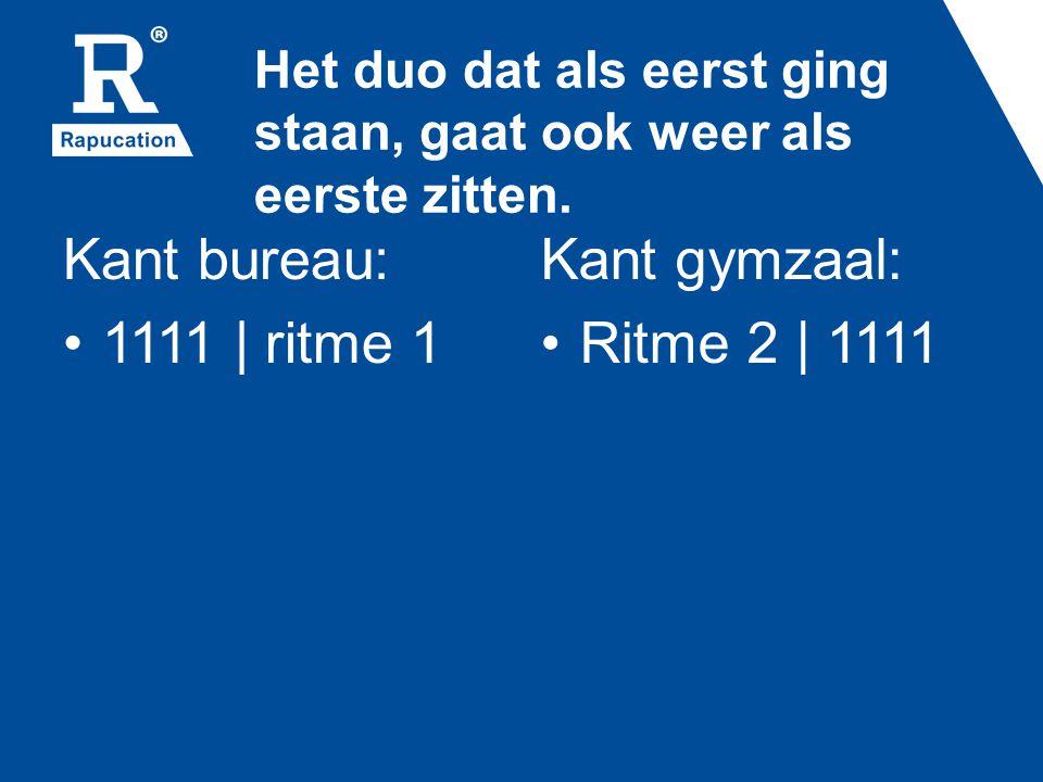 Improviseren Kant bureau: 1111 | improviseren Kant gymzaal: Ritme 1 | 1111