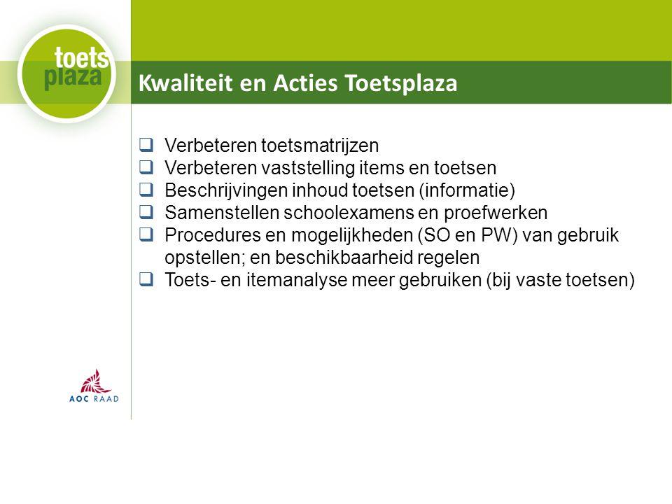 Kwaliteit en Acties Toetsplaza  Verbeteren toetsmatrijzen  Verbeteren vaststelling items en toetsen  Beschrijvingen inhoud toetsen (informatie)  S
