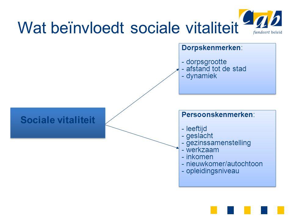 Wat beïnvloedt sociale vitaliteit Dorpskenmerken: - dorpsgrootte - afstand tot de stad - dynamiek Dorpskenmerken: - dorpsgrootte - afstand tot de stad