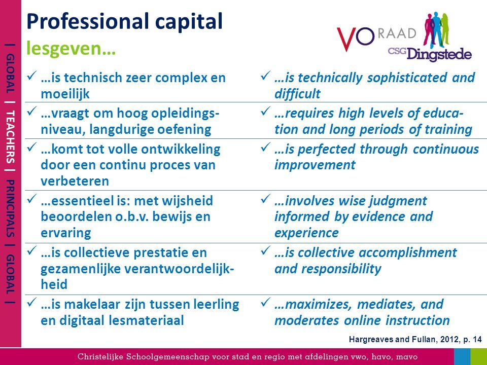 Professional capital lesgeven… …is technisch zeer complex en moeilijk …vraagt om hoog opleidings- niveau, langdurige oefening …komt tot volle ontwikke