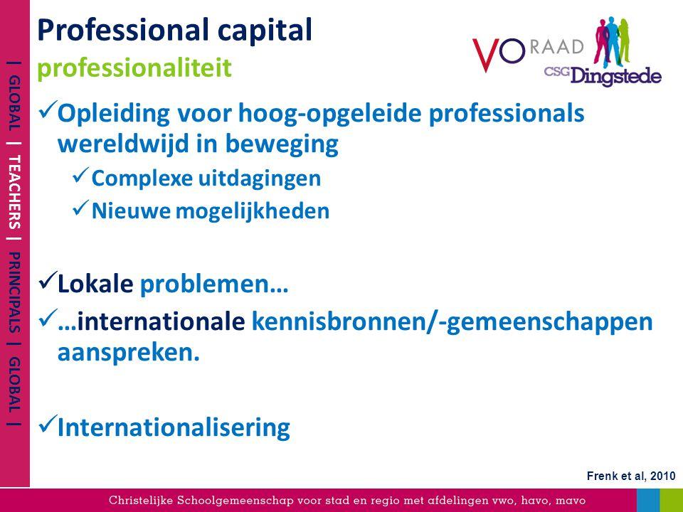 Professional capital professionaliteit Opleiding voor hoog-opgeleide professionals wereldwijd in beweging Complexe uitdagingen Nieuwe mogelijkheden Lo