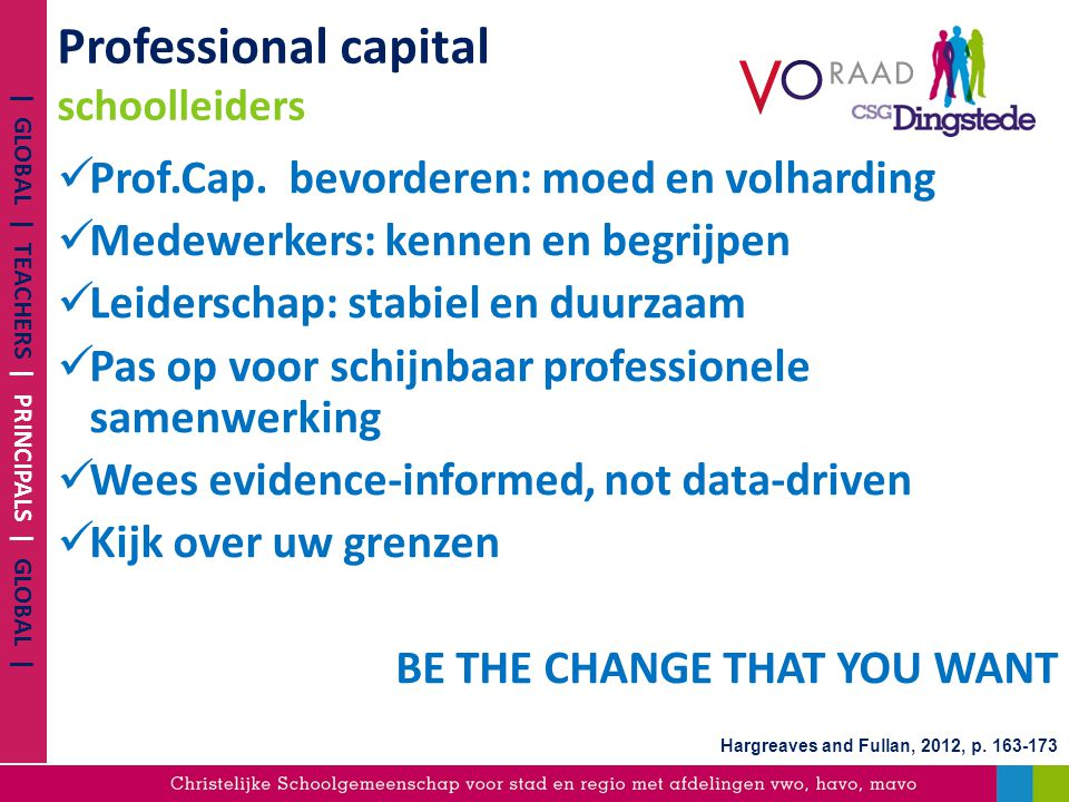 Professional capital schoolleiders Prof.Cap. bevorderen: moed en volharding Medewerkers: kennen en begrijpen Leiderschap: stabiel en duurzaam Pas op v