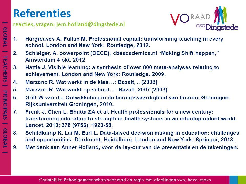 Referenties reacties, vragen: jem.hofland@dingstede.nl 1.Hargreaves A, Fullan M.