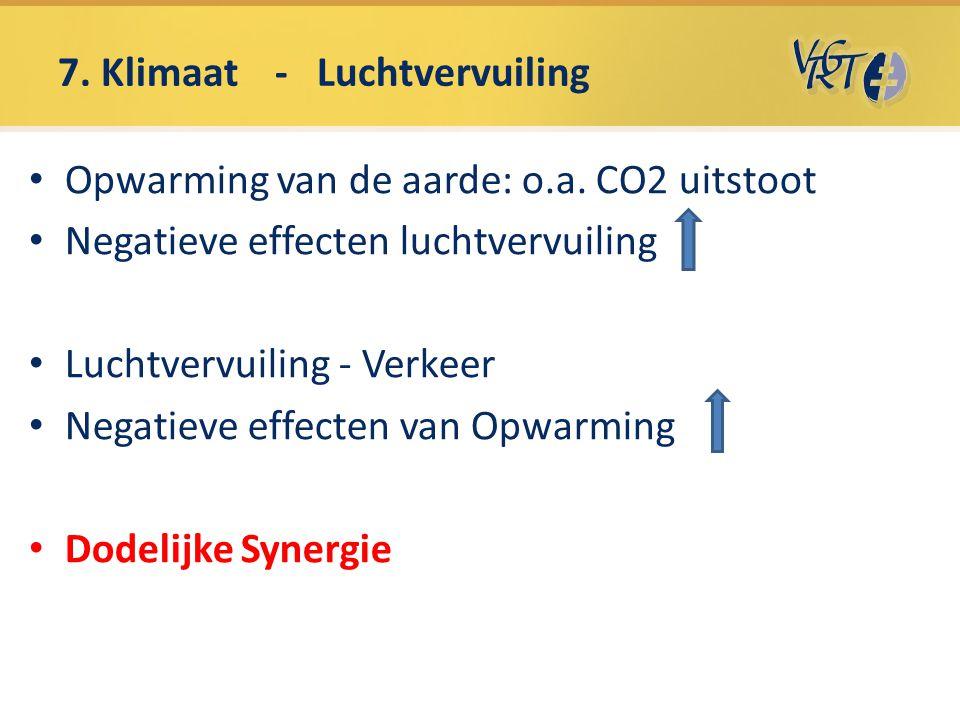 7. Klimaat - Luchtvervuiling Opwarming van de aarde: o.a. CO2 uitstoot Negatieve effecten luchtvervuiling Luchtvervuiling - Verkeer Negatieve effecten