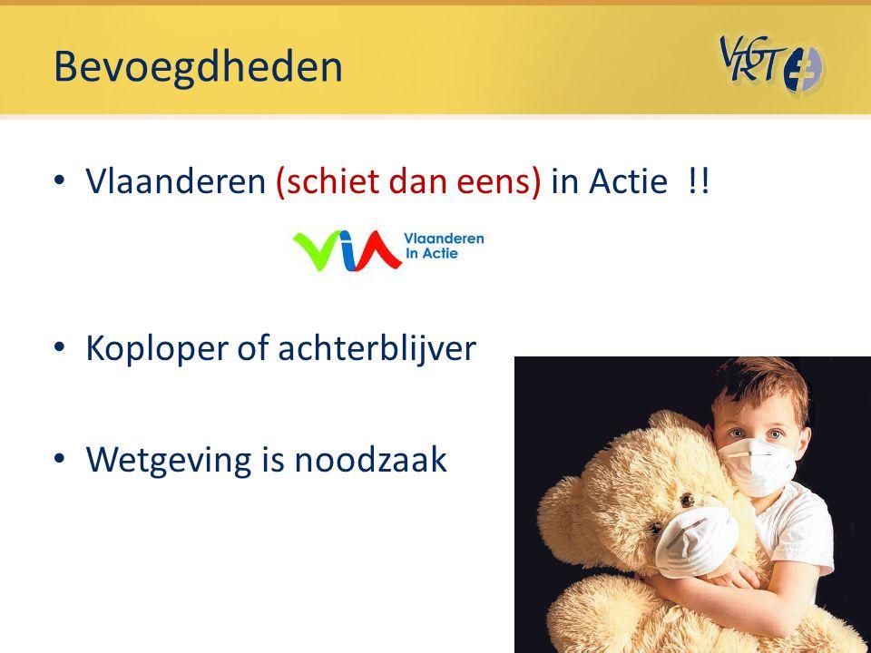 Bevoegdheden Vlaanderen (schiet dan eens) in Actie !! Koploper of achterblijver Wetgeving is noodzaak