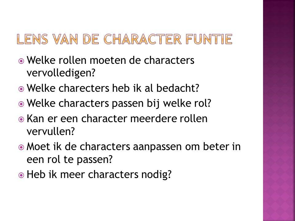  Welke rollen moeten de characters vervolledigen.