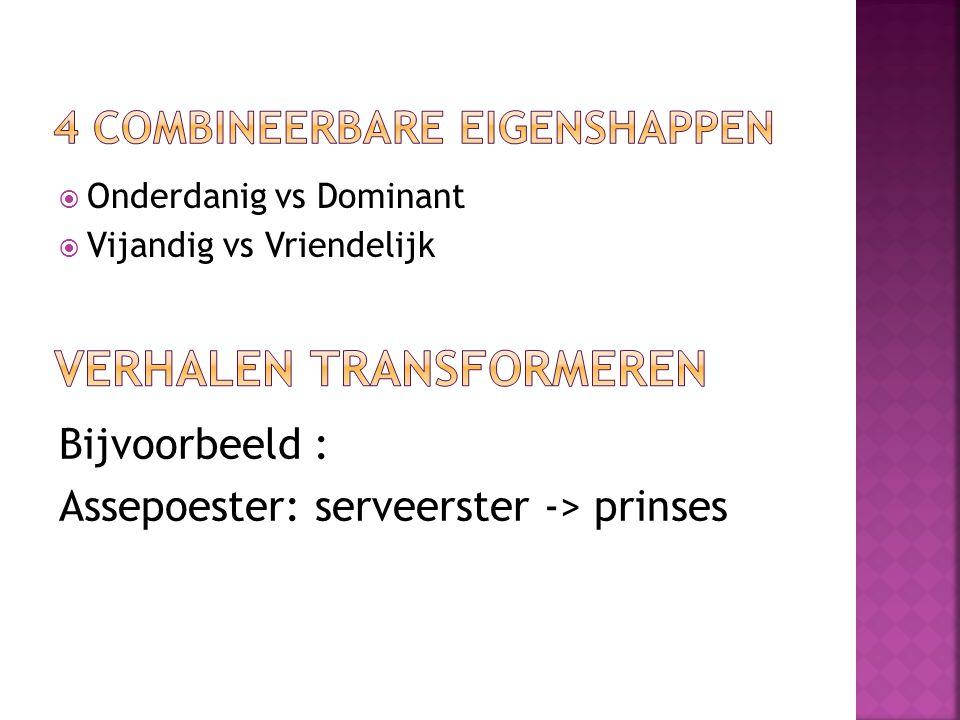 Onderdanig vs Dominant  Vijandig vs Vriendelijk Bijvoorbeeld : Assepoester: serveerster -> prinses