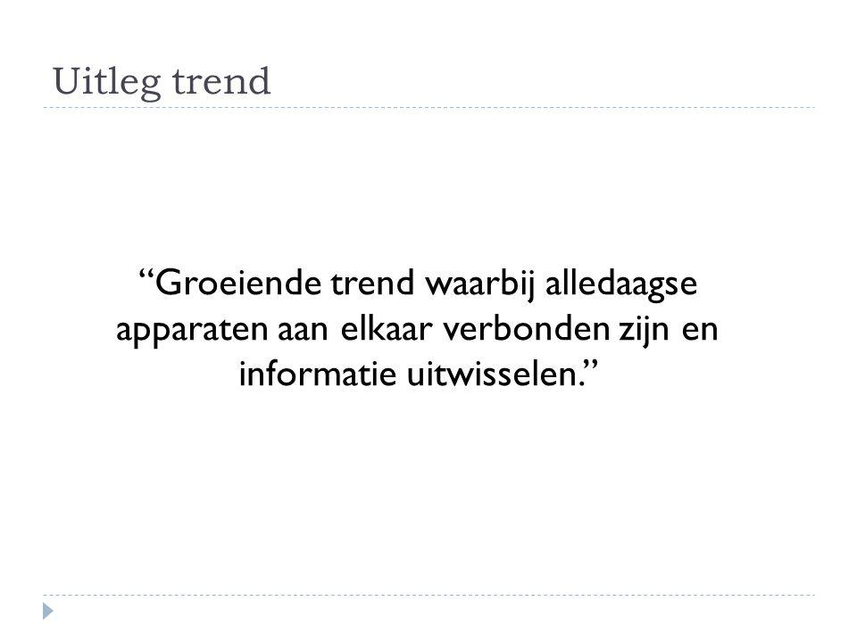 """Uitleg trend """"Groeiende trend waarbij alledaagse apparaten aan elkaar verbonden zijn en informatie uitwisselen."""""""
