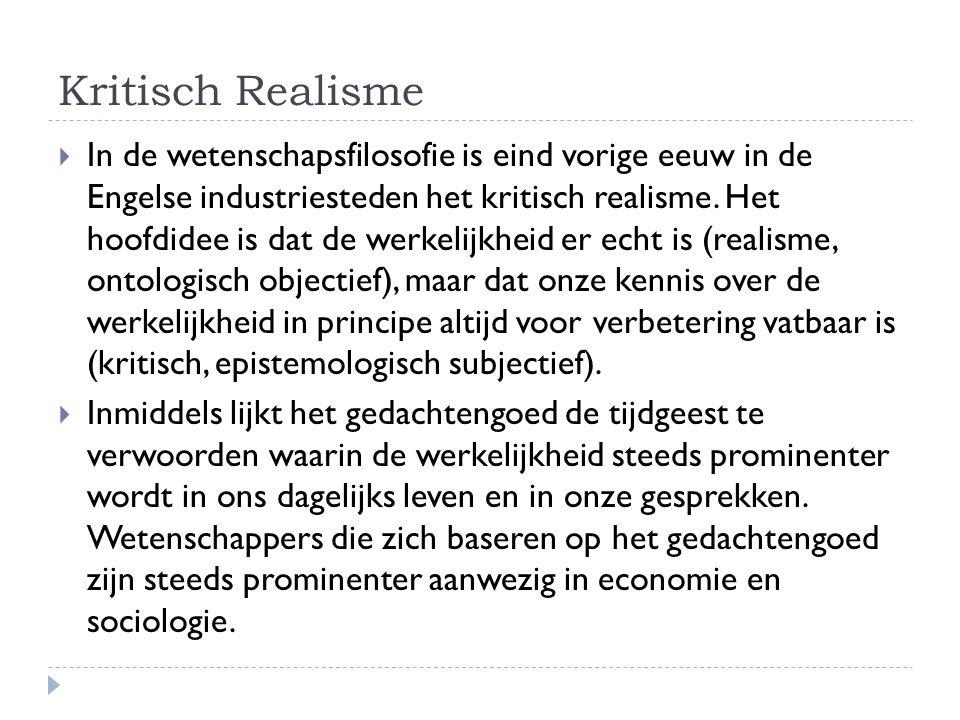 Open Realisme  Omdat de term Kritisch Realisme voor veel interpretaties vatbaar is en zwaar verbonden is aan diep-filosofische noties stel ik voor om dit gedachtengoed voor de toepassing in sociale wetenschappen te typeren als Open Realisme.