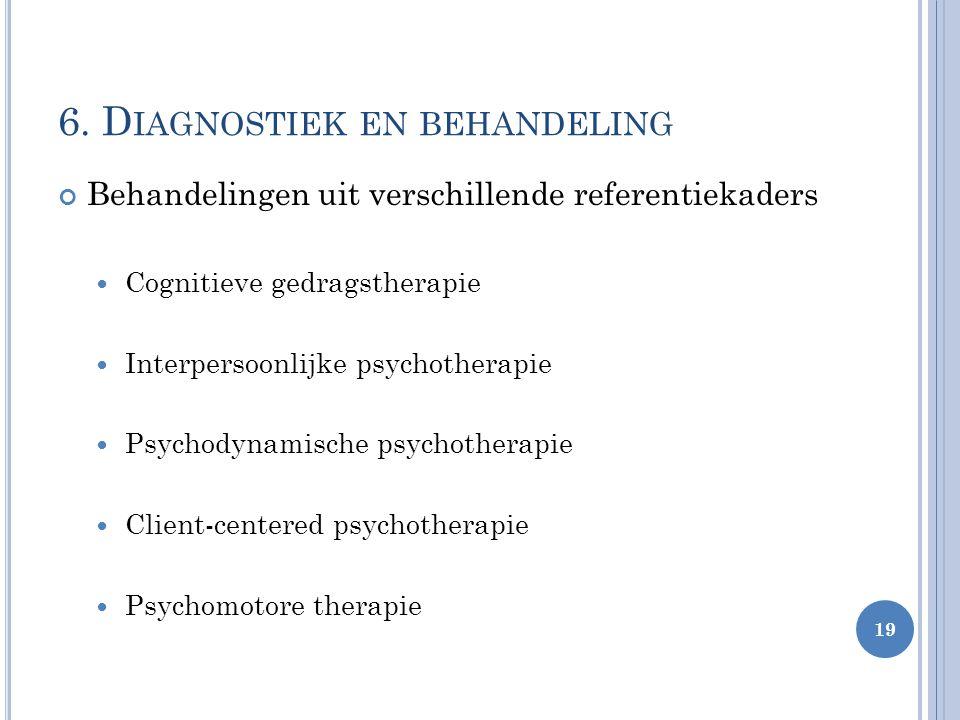 Behandelingen uit verschillende referentiekaders Cognitieve gedragstherapie Interpersoonlijke psychotherapie Psychodynamische psychotherapie Client-ce