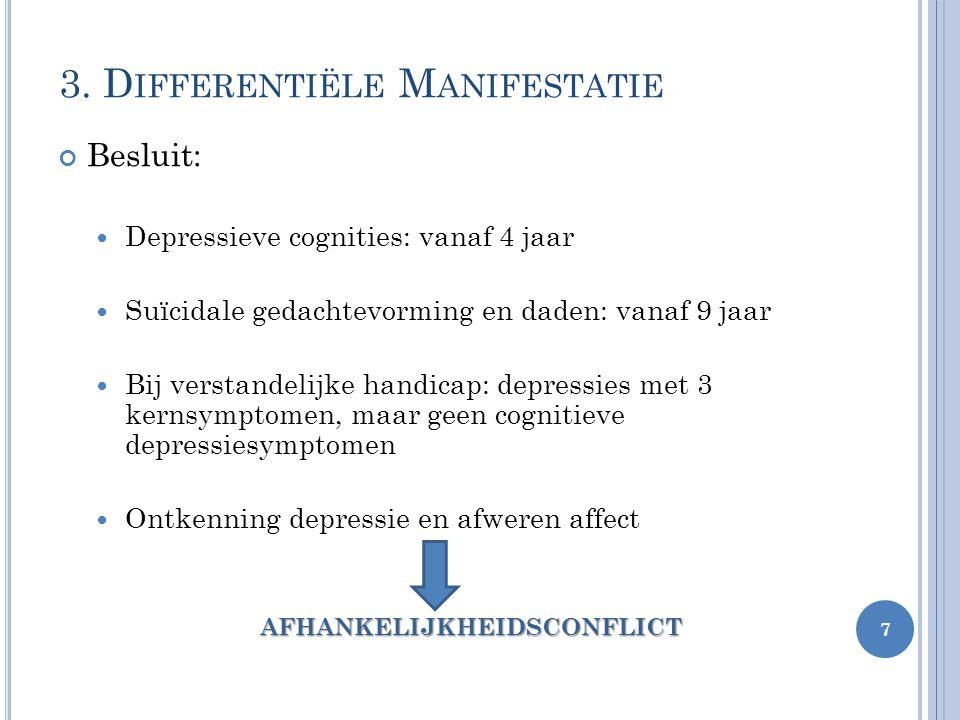 3. D IFFERENTIËLE M ANIFESTATIE Besluit: Depressieve cognities: vanaf 4 jaar Suïcidale gedachtevorming en daden: vanaf 9 jaar Bij verstandelijke handi
