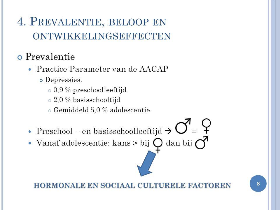 4. P REVALENTIE, BELOOP EN ONTWIKKELINGSEFFECTEN Prevalentie Practice Parameter van de AACAP Depressies: 0,9 % preschoolleeftijd 2,0 % basisschooltijd