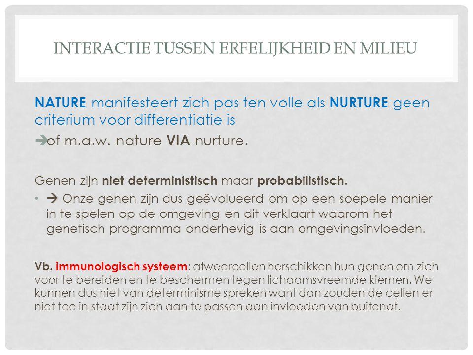 INTERACTIE TUSSEN ERFELIJKHEID EN MILIEU NATURE manifesteert zich pas ten volle als NURTURE geen criterium voor differentiatie is  of m.a.w. nature V