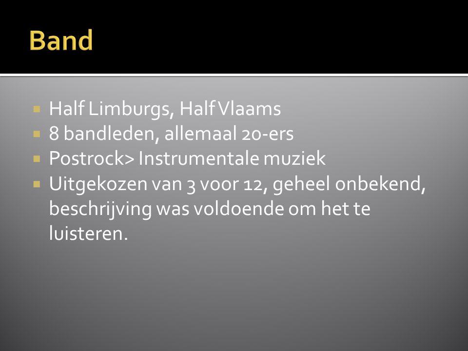  Half Limburgs, Half Vlaams  8 bandleden, allemaal 20-ers  Postrock> Instrumentale muziek  Uitgekozen van 3 voor 12, geheel onbekend, beschrijving was voldoende om het te luisteren.