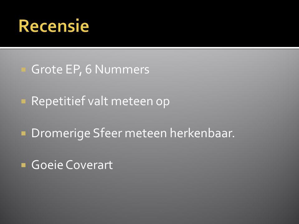  Grote EP, 6 Nummers  Repetitief valt meteen op  Dromerige Sfeer meteen herkenbaar.