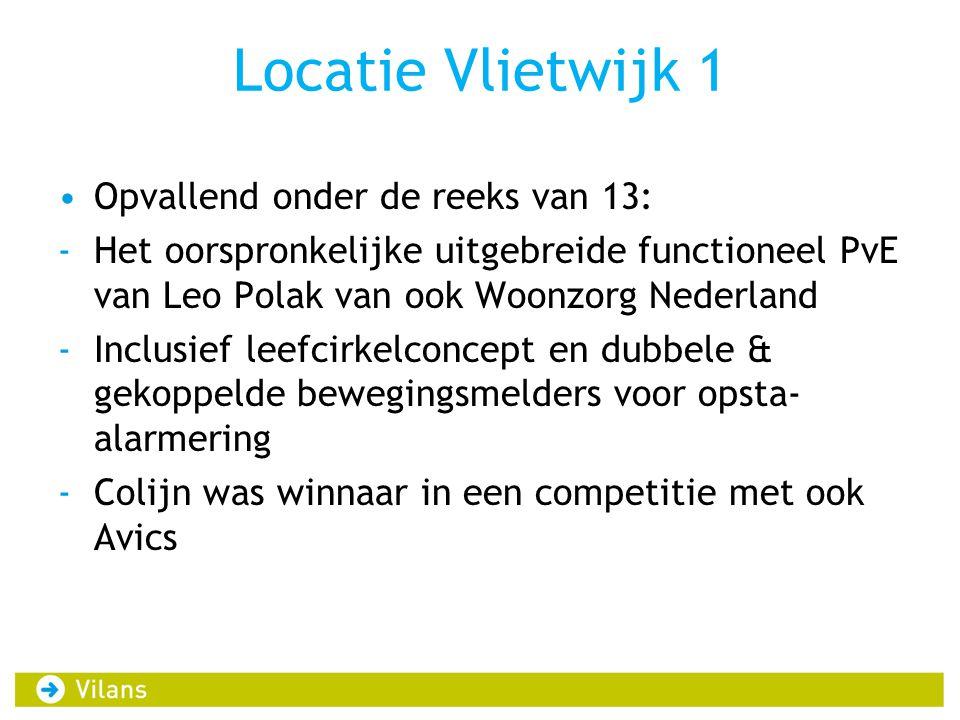 Locatie Vlietwijk 1 Opvallend onder de reeks van 13: -Het oorspronkelijke uitgebreide functioneel PvE van Leo Polak van ook Woonzorg Nederland -Inclusief leefcirkelconcept en dubbele & gekoppelde bewegingsmelders voor opsta- alarmering -Colijn was winnaar in een competitie met ook Avics