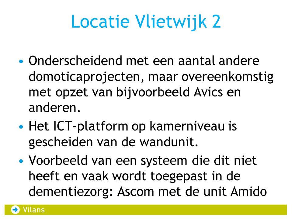 Locatie Vlietwijk 2 Onderscheidend met een aantal andere domoticaprojecten, maar overeenkomstig met opzet van bijvoorbeeld Avics en anderen.
