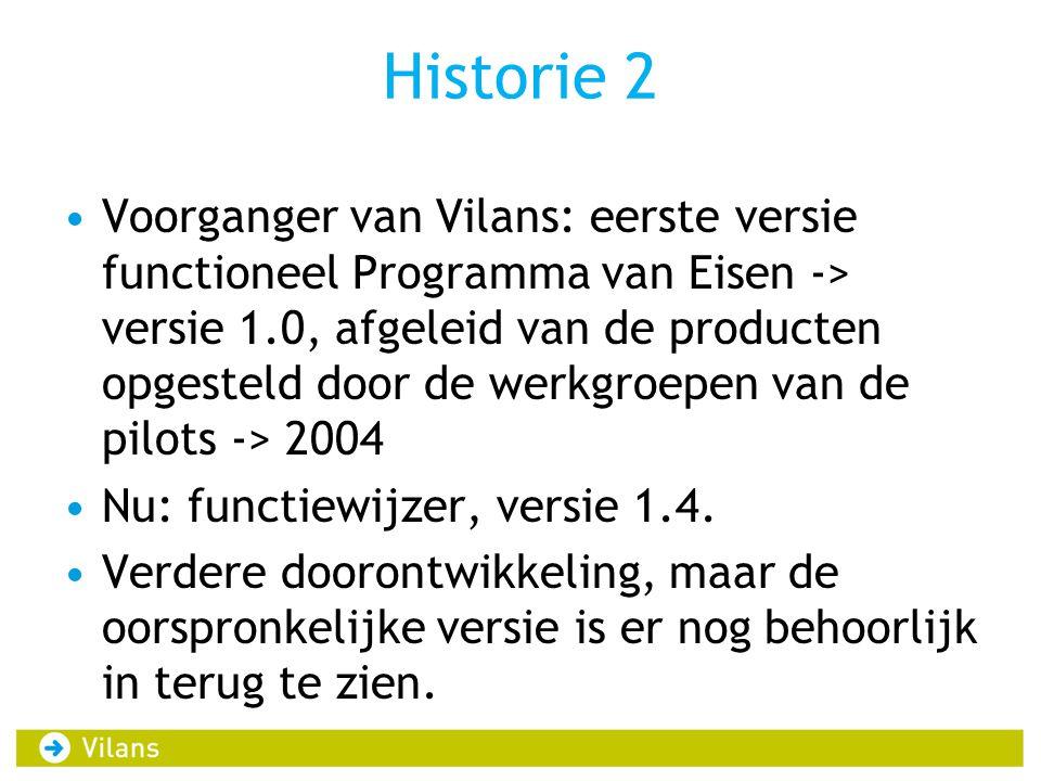Historie 2 Voorganger van Vilans: eerste versie functioneel Programma van Eisen -> versie 1.0, afgeleid van de producten opgesteld door de werkgroepen van de pilots -> 2004 Nu: functiewijzer, versie 1.4.