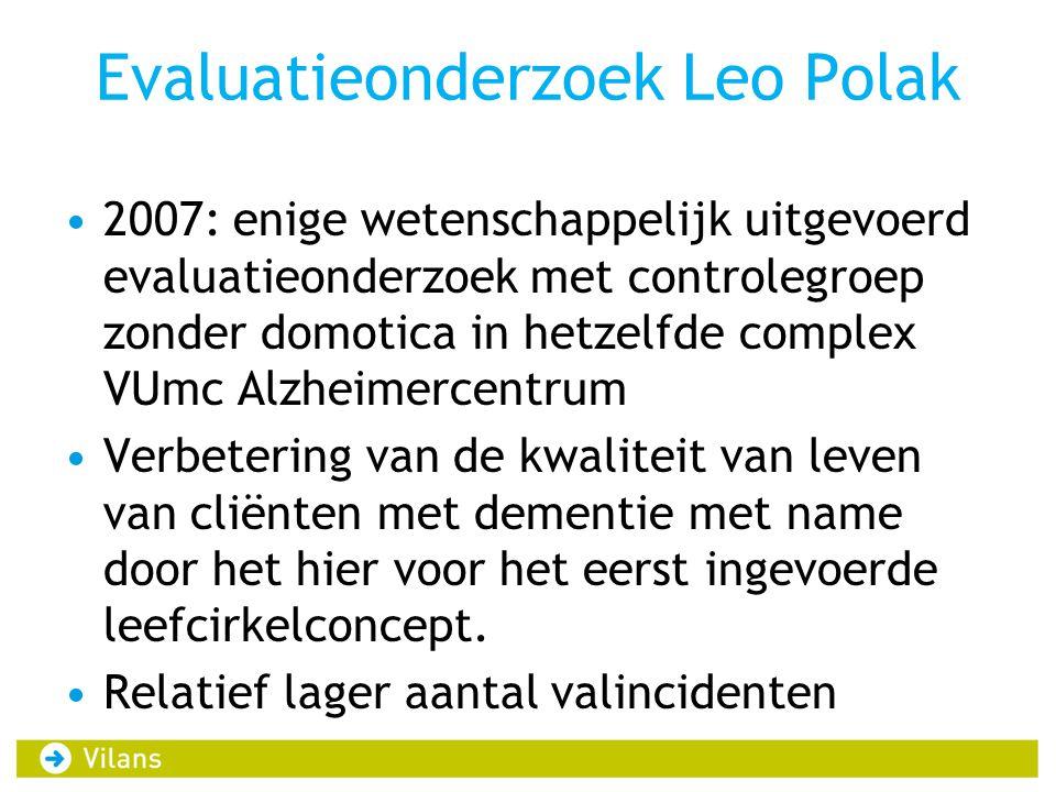 Evaluatieonderzoek Leo Polak 2007: enige wetenschappelijk uitgevoerd evaluatieonderzoek met controlegroep zonder domotica in hetzelfde complex VUmc Alzheimercentrum Verbetering van de kwaliteit van leven van cliënten met dementie met name door het hier voor het eerst ingevoerde leefcirkelconcept.