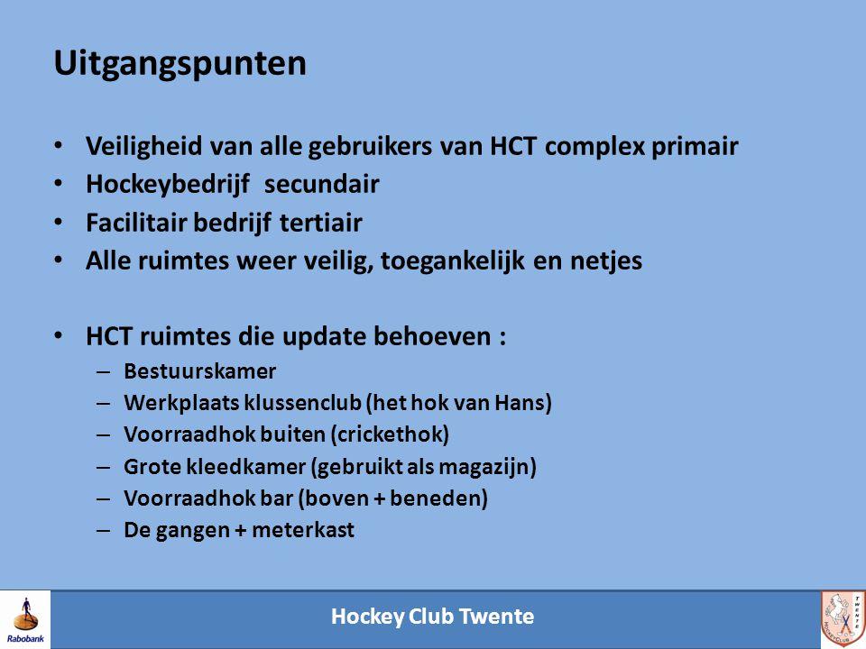 Hockey Club Twente Uitgangspunten Veiligheid van alle gebruikers van HCT complex primair Hockeybedrijf secundair Facilitair bedrijf tertiair Alle ruimtes weer veilig, toegankelijk en netjes HCT ruimtes die update behoeven : – Bestuurskamer – Werkplaats klussenclub (het hok van Hans) – Voorraadhok buiten (crickethok) – Grote kleedkamer (gebruikt als magazijn) – Voorraadhok bar (boven + beneden) – De gangen + meterkast